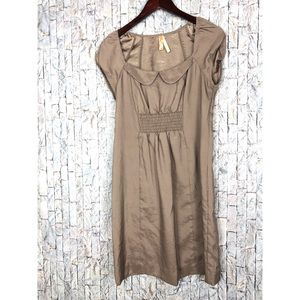Anthropologie Maeve Sheen Taupe Dress